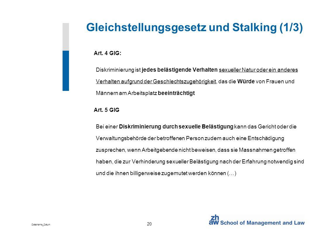 Gleichstellungsgesetz und Stalking (1/3)