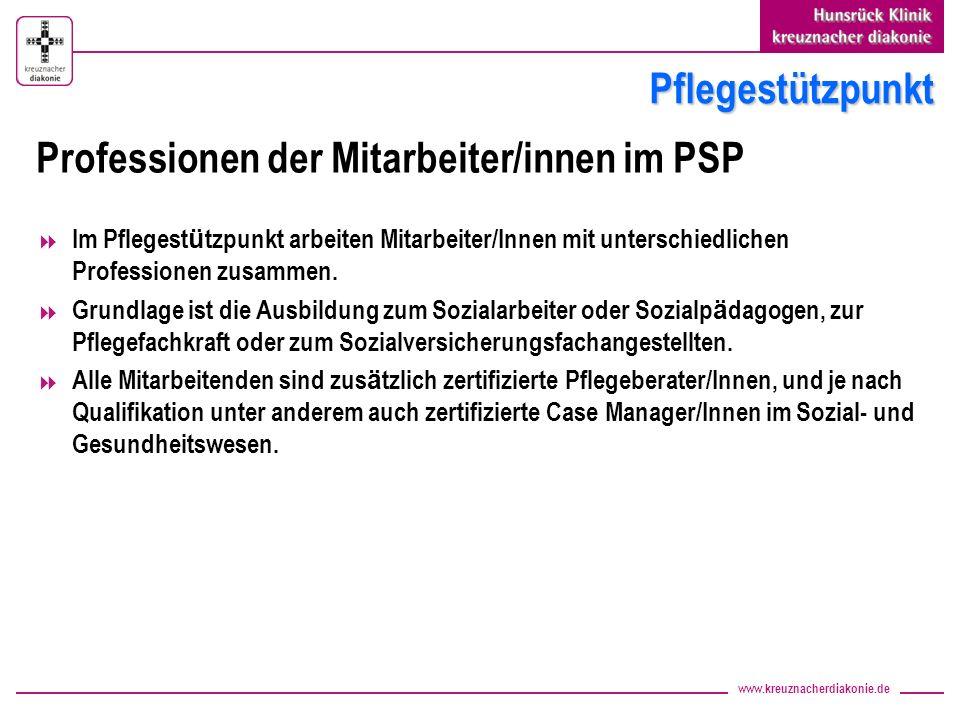 Professionen der Mitarbeiter/innen im PSP