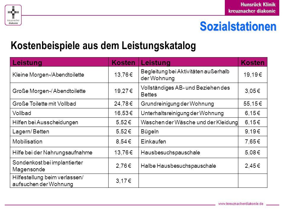 Sozialstationen Kostenbeispiele aus dem Leistungskatalog Leistung