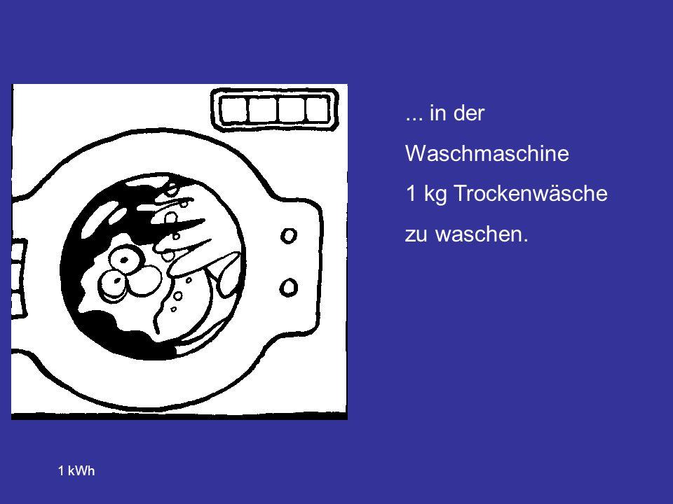 ... in der Waschmaschine 1 kg Trockenwäsche zu waschen. 1 kWh