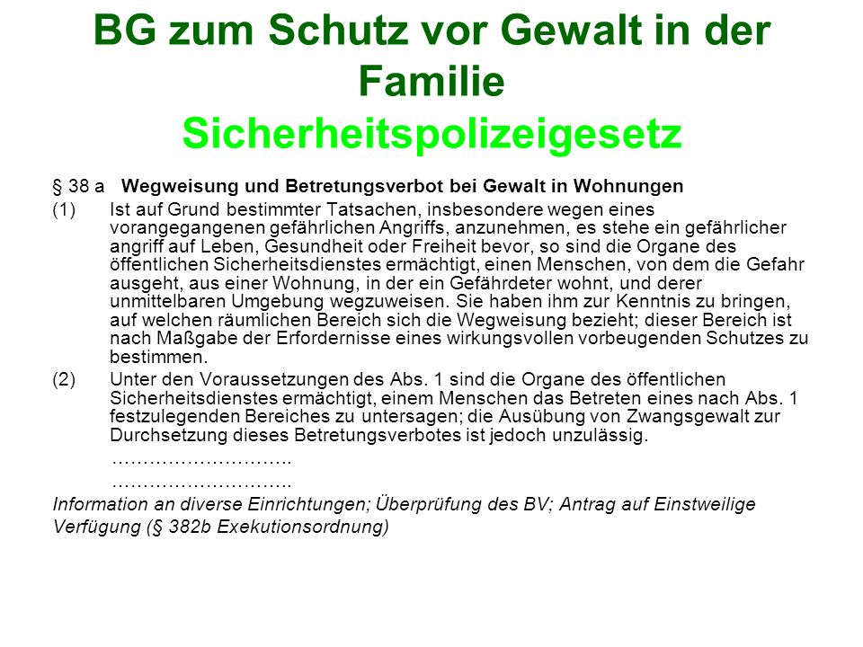 BG zum Schutz vor Gewalt in der Familie Sicherheitspolizeigesetz