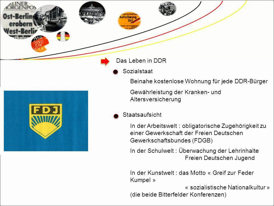 Das Leben in DDR Sozialstaat. Beinahe kostenlose Wohnung für jede DDR-Bürger. Gewährleistung der Kranken- und Altersversicherung.