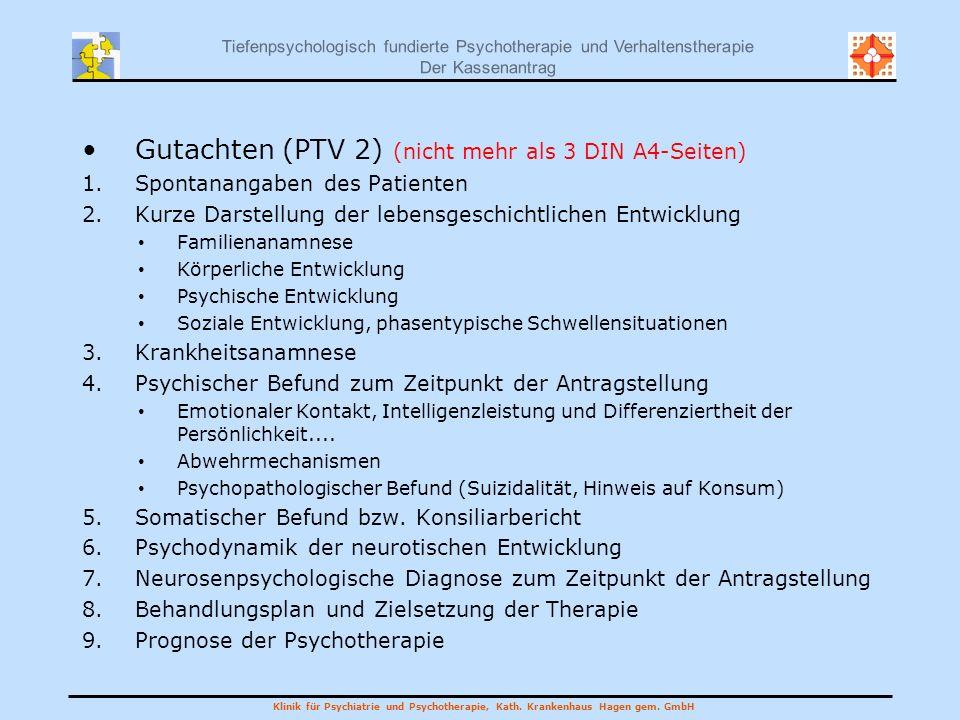 Gutachten (PTV 2) (nicht mehr als 3 DIN A4-Seiten)