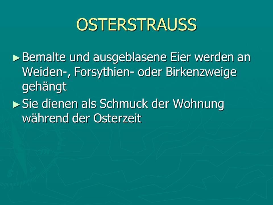 OSTERSTRAUSS Bemalte und ausgeblasene Eier werden an Weiden-, Forsythien- oder Birkenzweige gehängt.