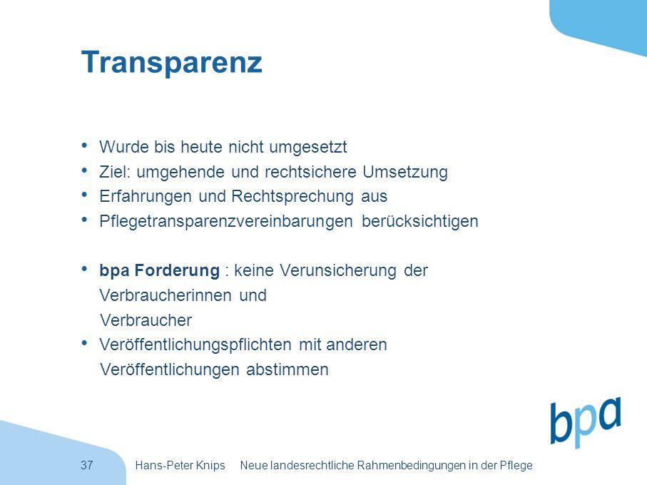 Transparenz Wurde bis heute nicht umgesetzt