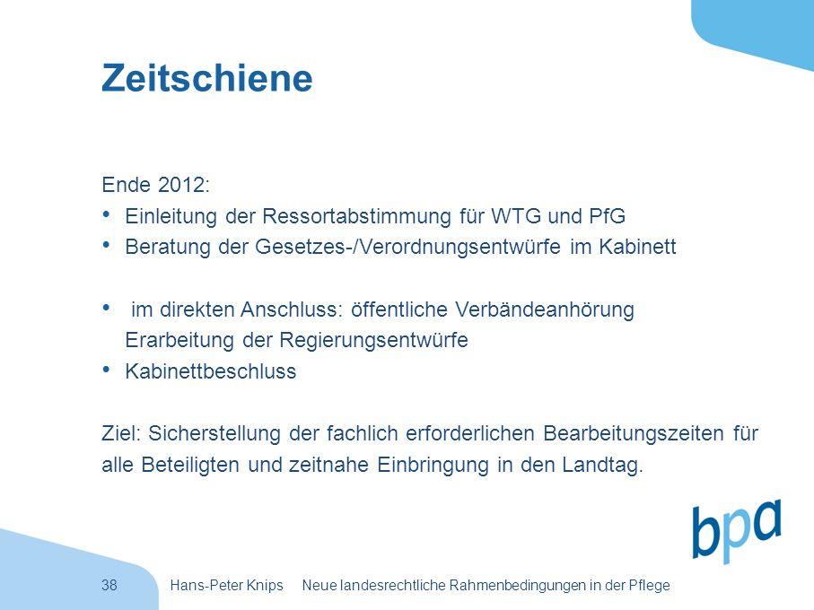 Zeitschiene Ende 2012: Einleitung der Ressortabstimmung für WTG und PfG. Beratung der Gesetzes-/Verordnungsentwürfe im Kabinett.