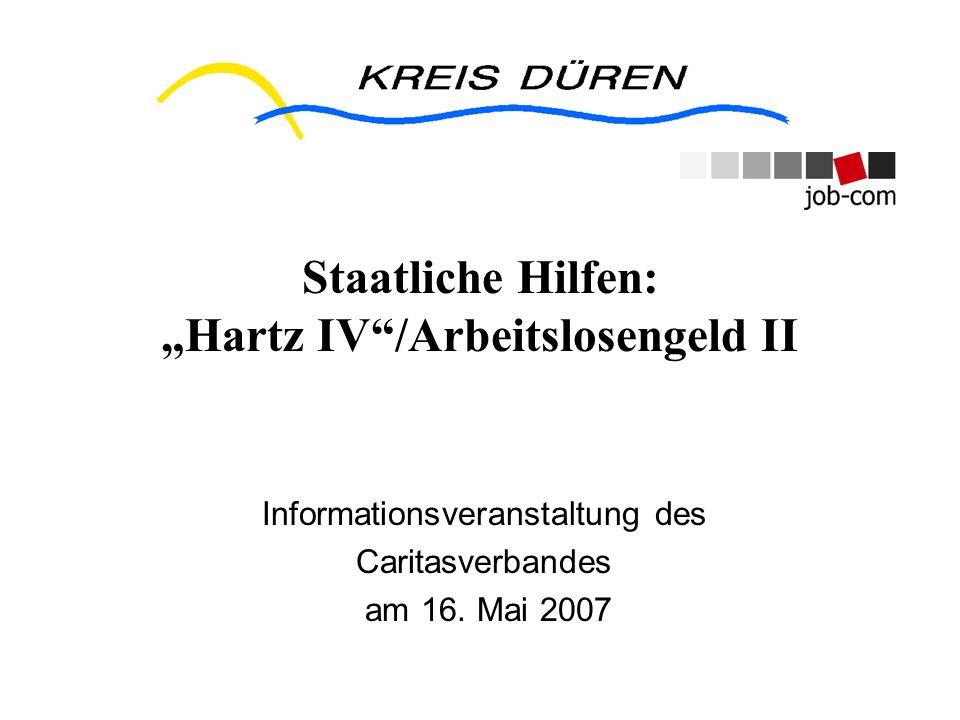 """Staatliche Hilfen: """"Hartz IV /Arbeitslosengeld II"""