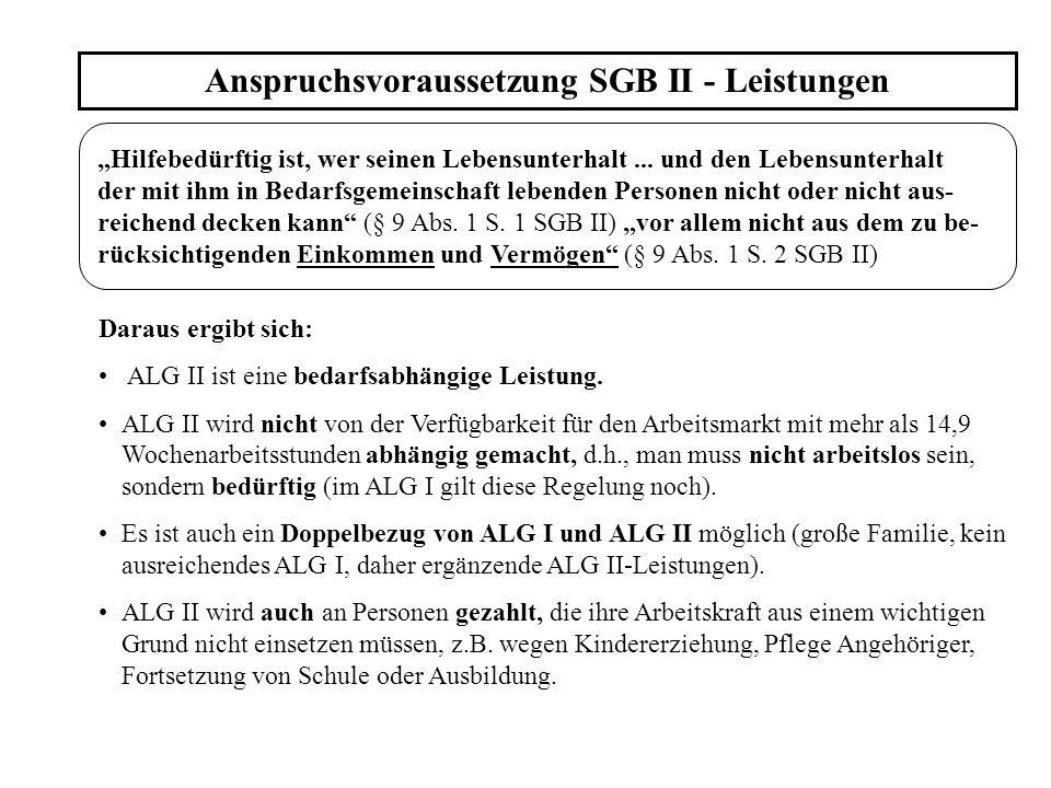 Anspruchsvoraussetzung SGB II - Leistungen