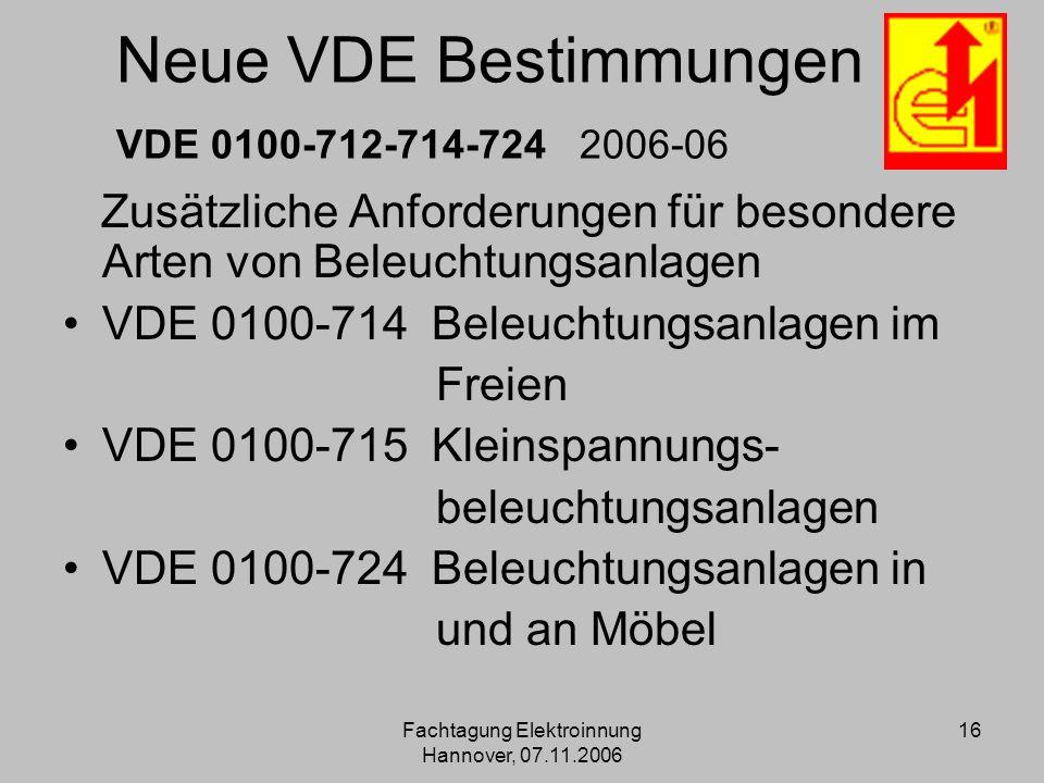 Neue VDE Bestimmungen VDE 0100-712-714-724 2006-06