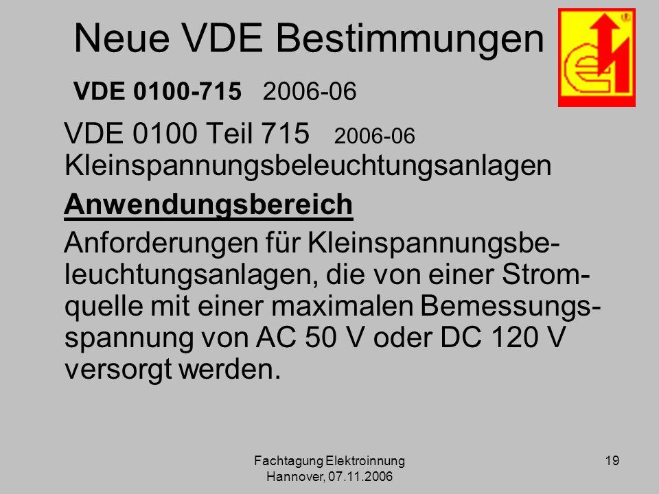 Neue VDE Bestimmungen VDE 0100-715 2006-06