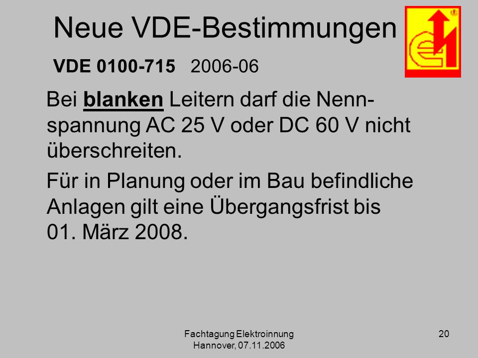 Neue VDE-Bestimmungen VDE 0100-715 2006-06