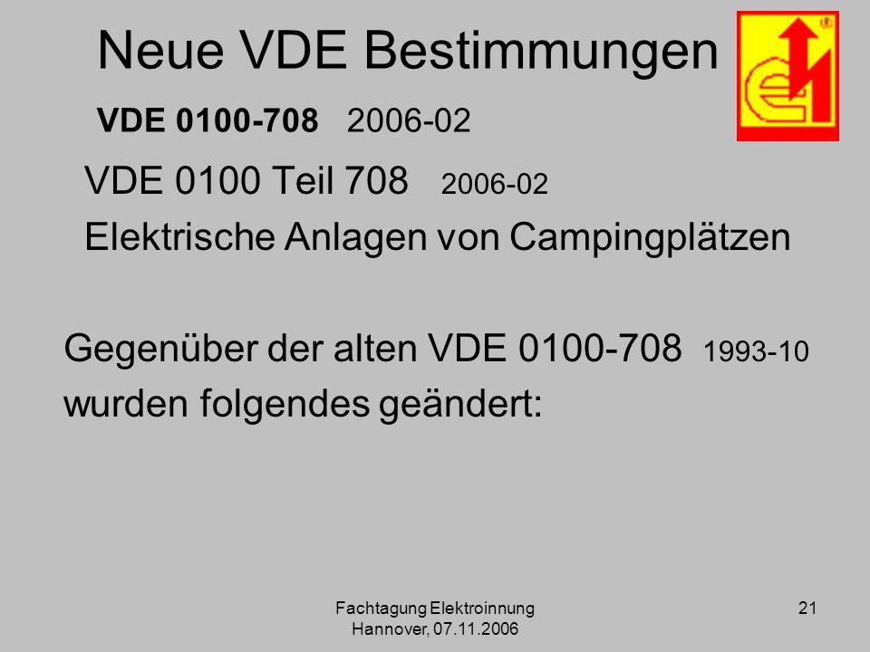 Neue VDE Bestimmungen VDE 0100 708 2006 02