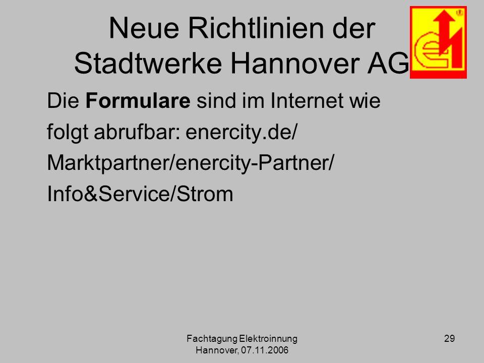Neue Richtlinien der Stadtwerke Hannover AG