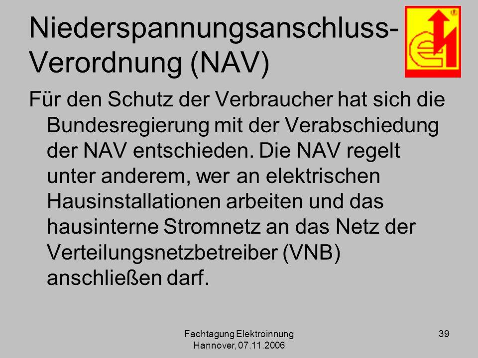 Niederspannungsanschluss- Verordnung (NAV)