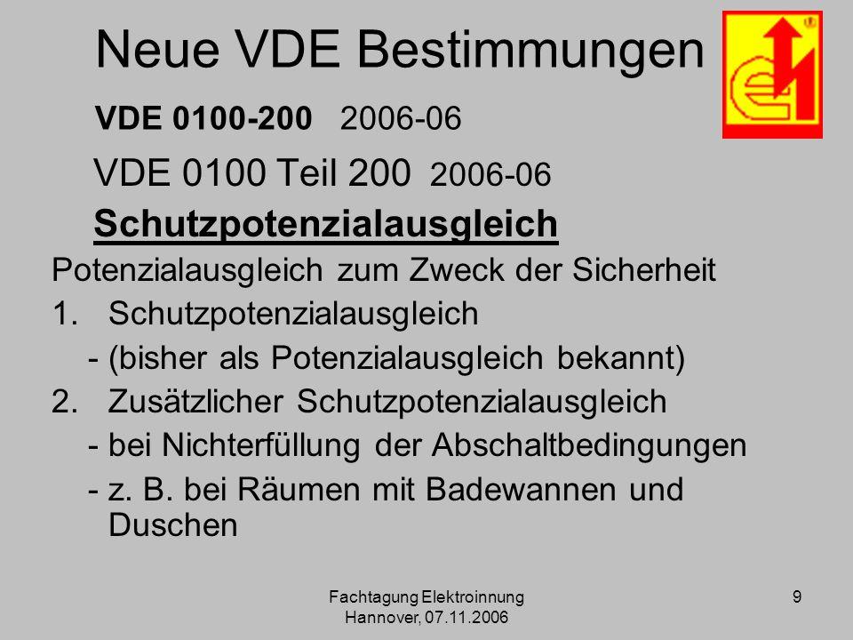 Neue VDE Bestimmungen VDE 0100-200 2006-06