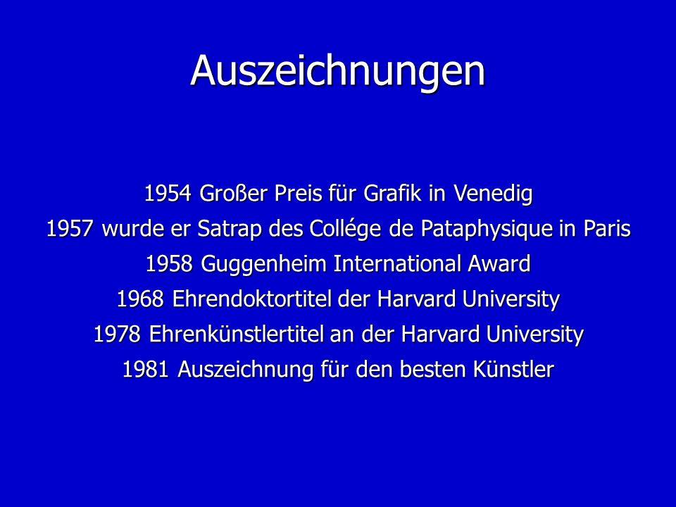Auszeichnungen 1954 Großer Preis für Grafik in Venedig