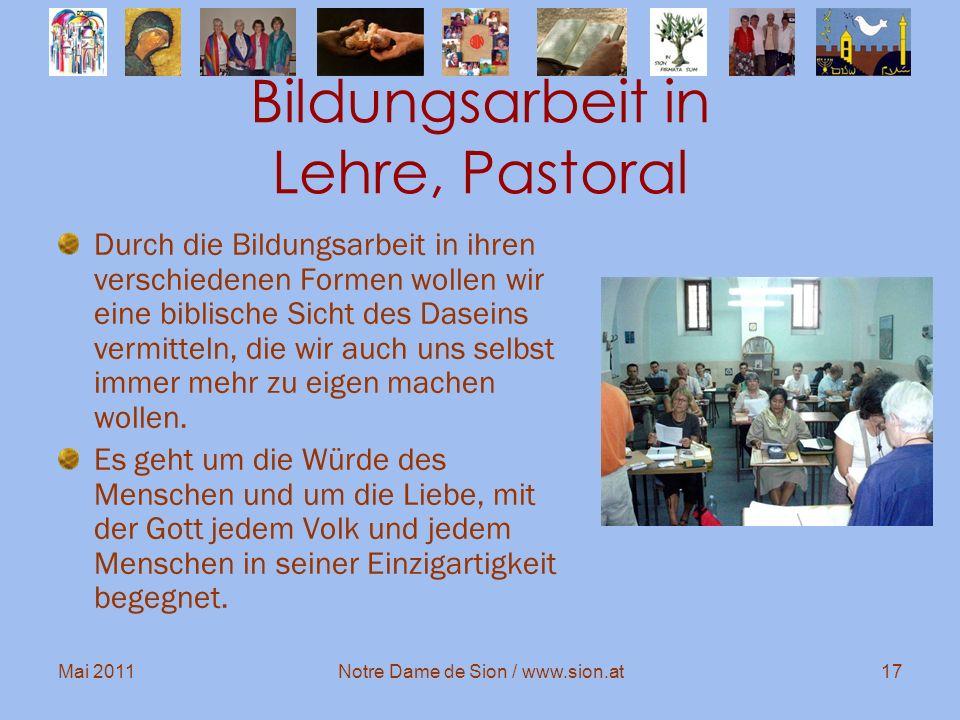 Bildungsarbeit in Lehre, Pastoral