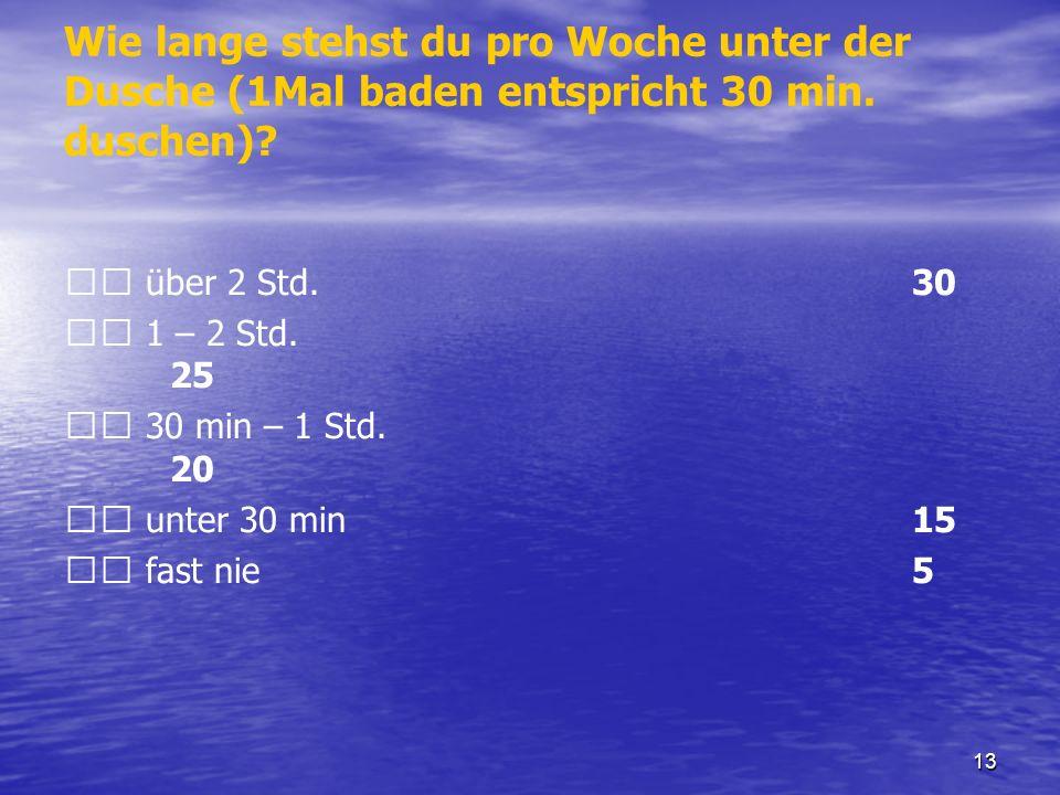 Wie lange stehst du pro Woche unter der Dusche (1Mal baden entspricht 30 min. duschen)