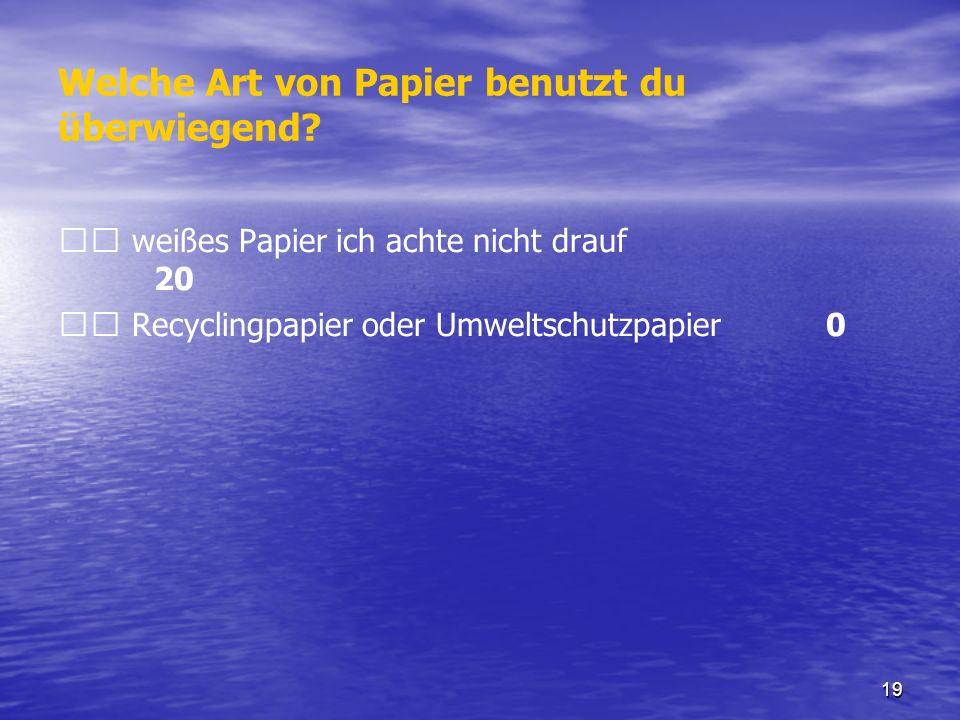 Welche Art von Papier benutzt du überwiegend