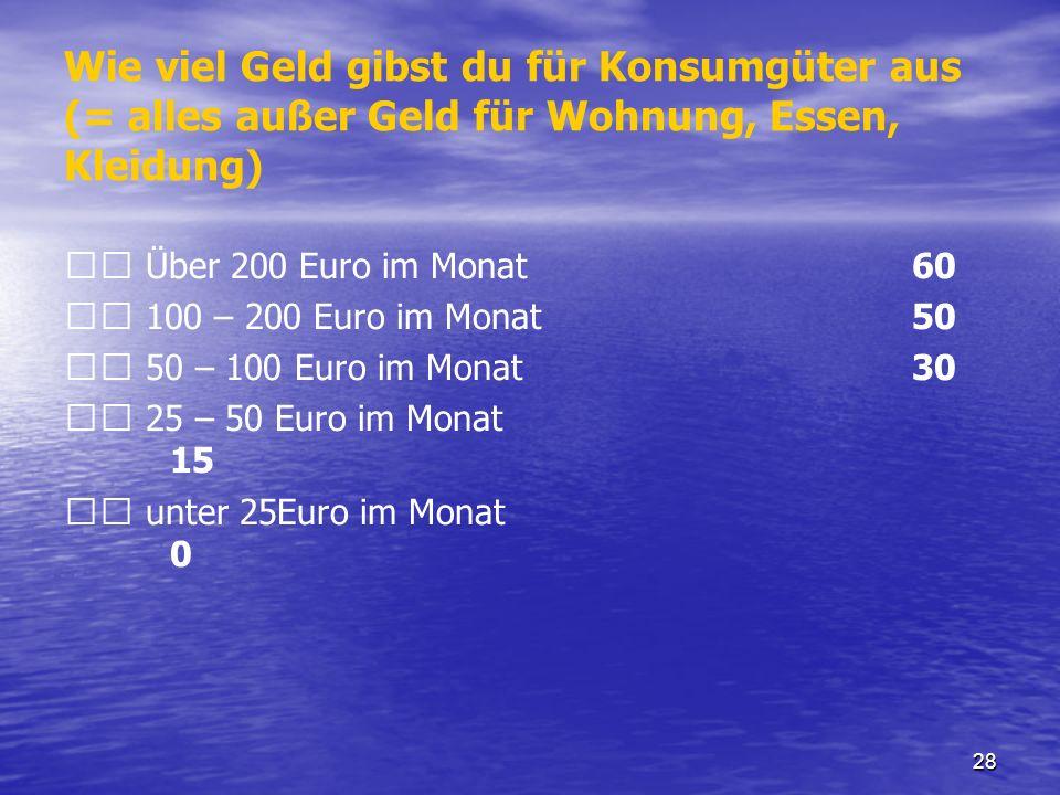 Wie viel Geld gibst du für Konsumgüter aus (= alles außer Geld für Wohnung, Essen, Kleidung)