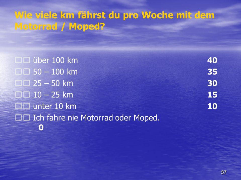 Wie viele km fährst du pro Woche mit dem Motorrad / Moped