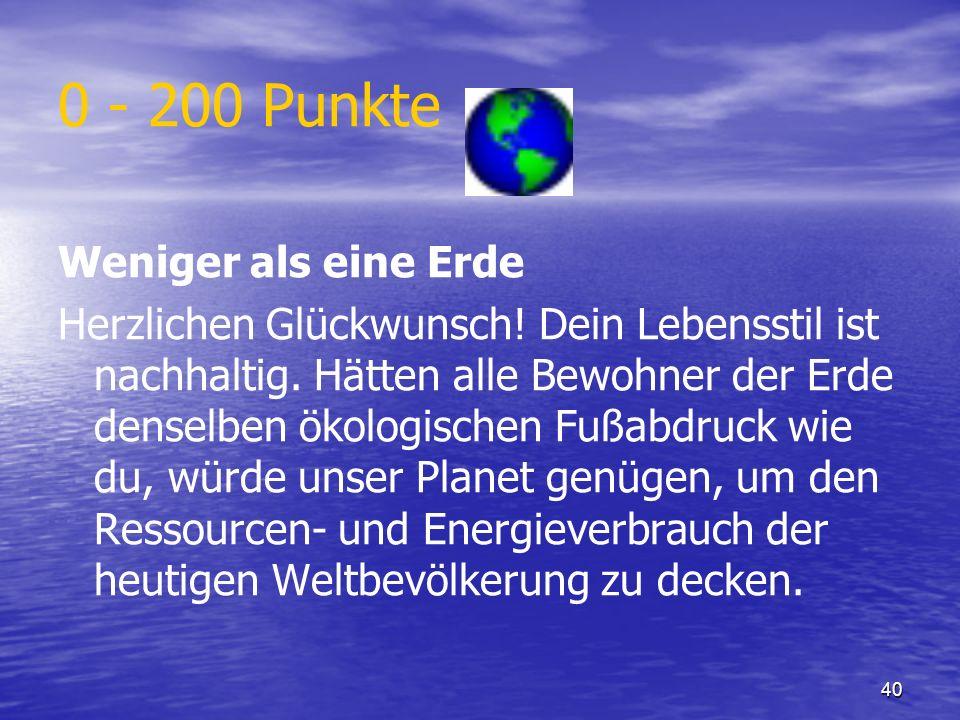 0 - 200 Punkte Weniger als eine Erde