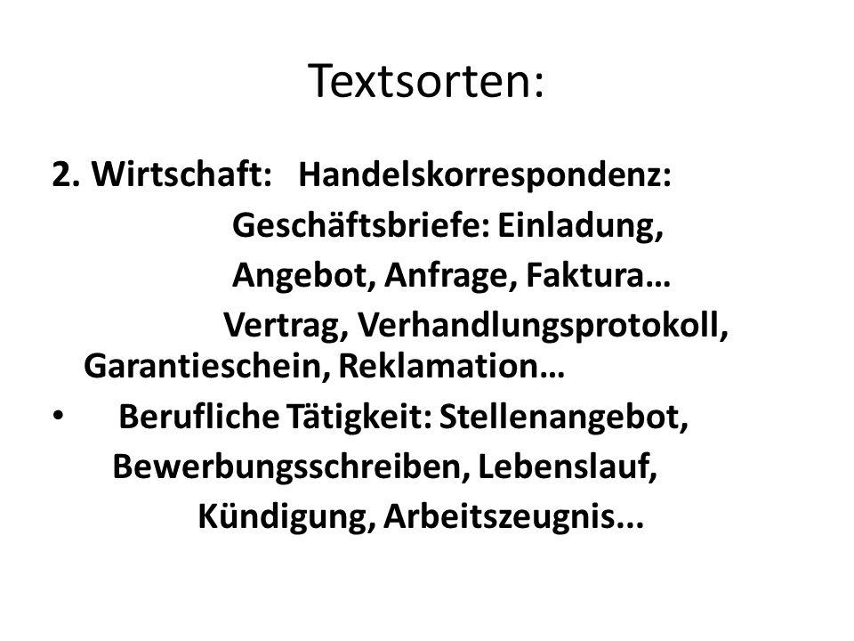 Textsorten: 2. Wirtschaft: Handelskorrespondenz: