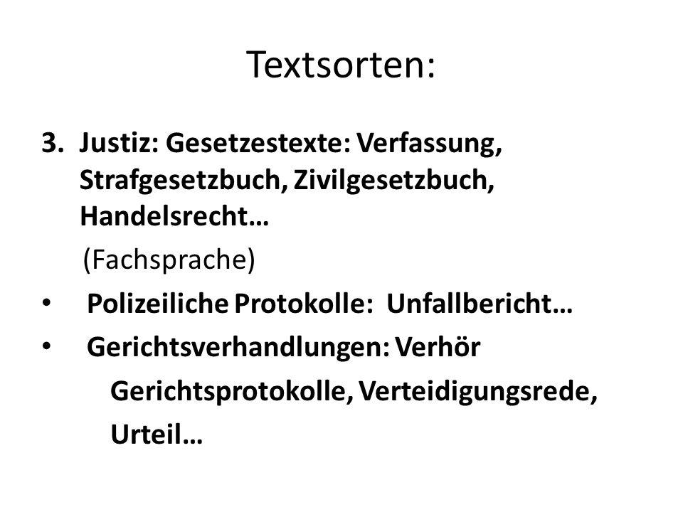 Textsorten: Justiz: Gesetzestexte: Verfassung, Strafgesetzbuch, Zivilgesetzbuch, Handelsrecht… (Fachsprache)