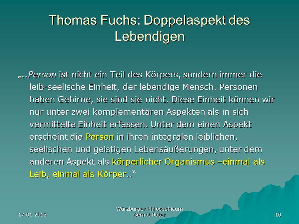 Thomas Fuchs: Doppelaspekt des Lebendigen