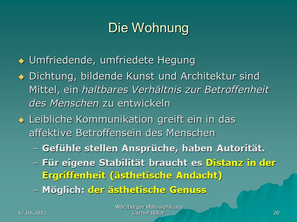 Würzburger Philosophicum Gernot Rüter