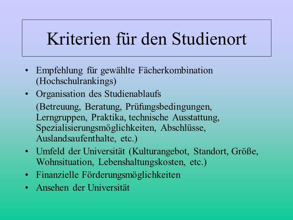Kriterien für den Studienort