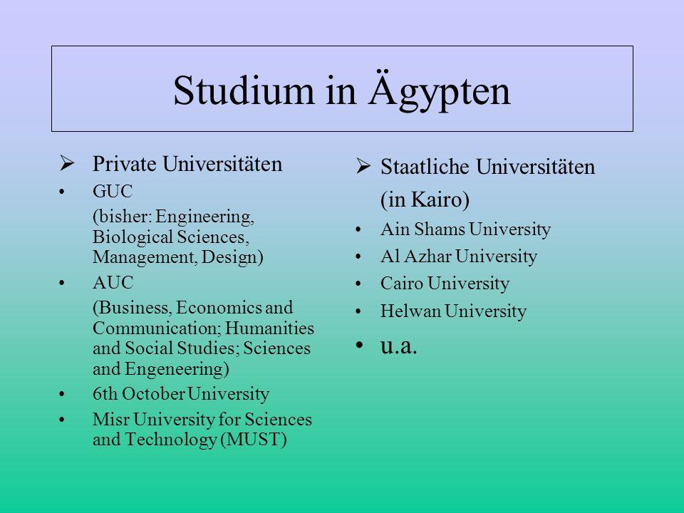 Studium in Ägypten u.a. Private Universitäten Staatliche Universitäten