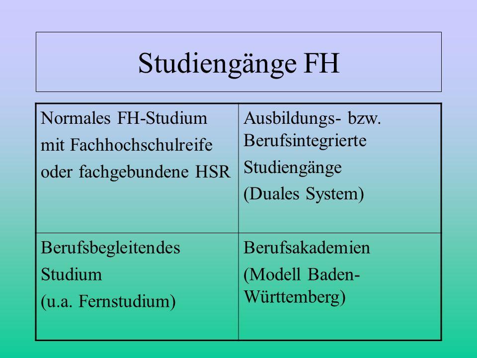 Studiengänge FH Normales FH-Studium mit Fachhochschulreife