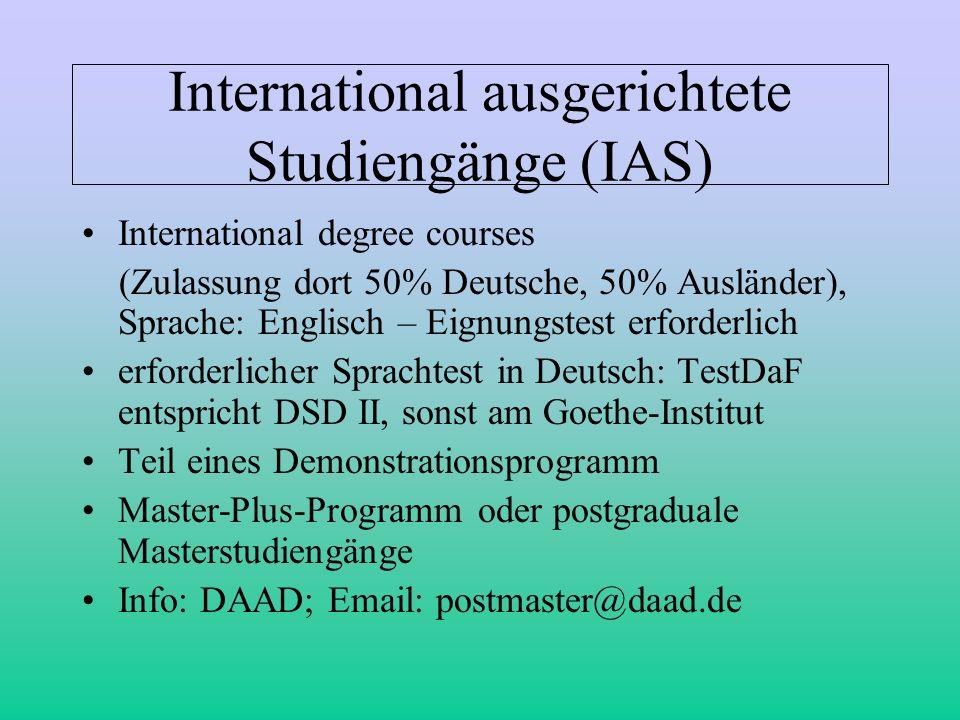 International ausgerichtete Studiengänge (IAS)
