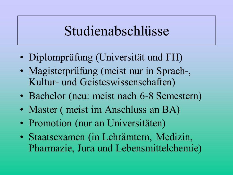 Studienabschlüsse Diplomprüfung (Universität und FH)