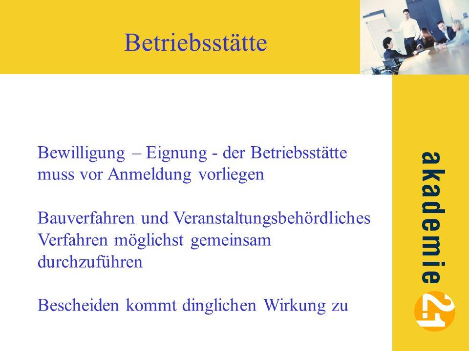 Betriebsstätte Bewilligung – Eignung - der Betriebsstätte muss vor Anmeldung vorliegen.