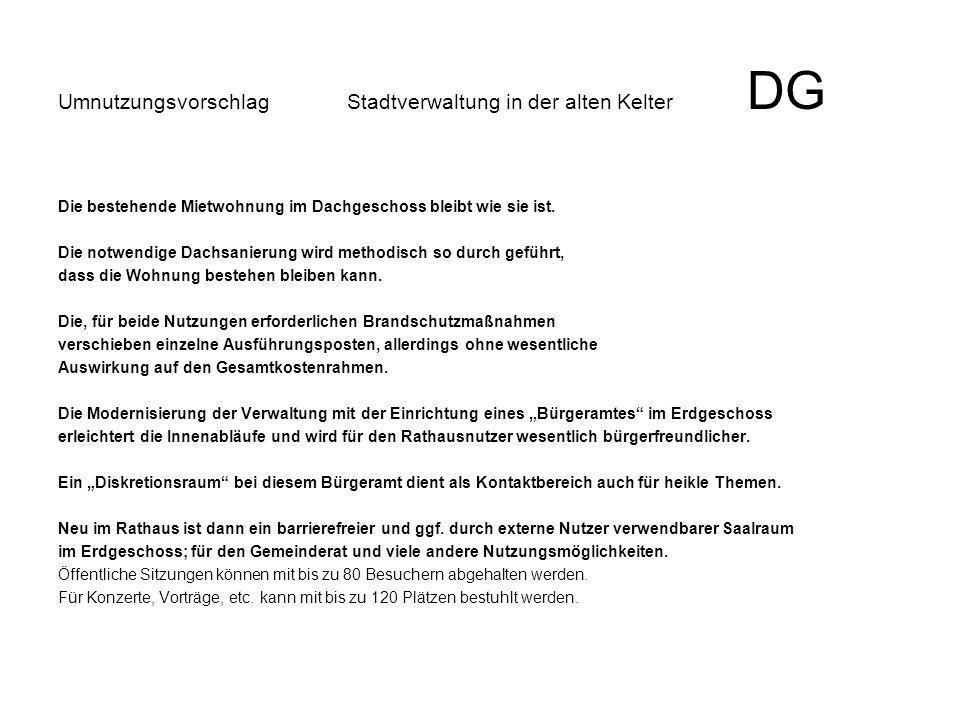 Umnutzungsvorschlag Stadtverwaltung in der alten Kelter DG