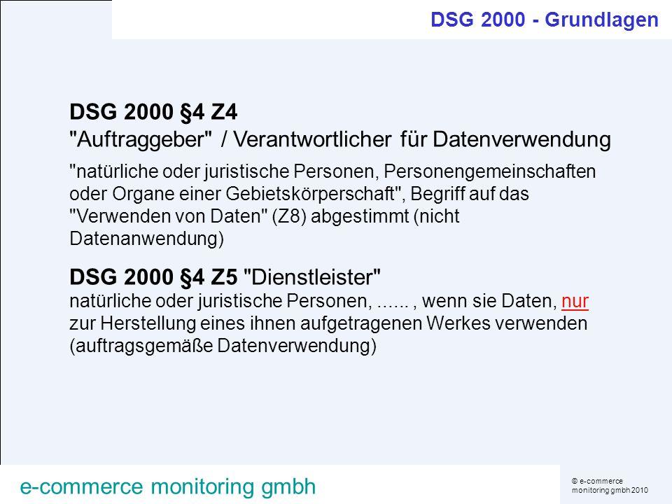 DSG 2000 §4 Z4 Auftraggeber / Verantwortlicher für Datenverwendung