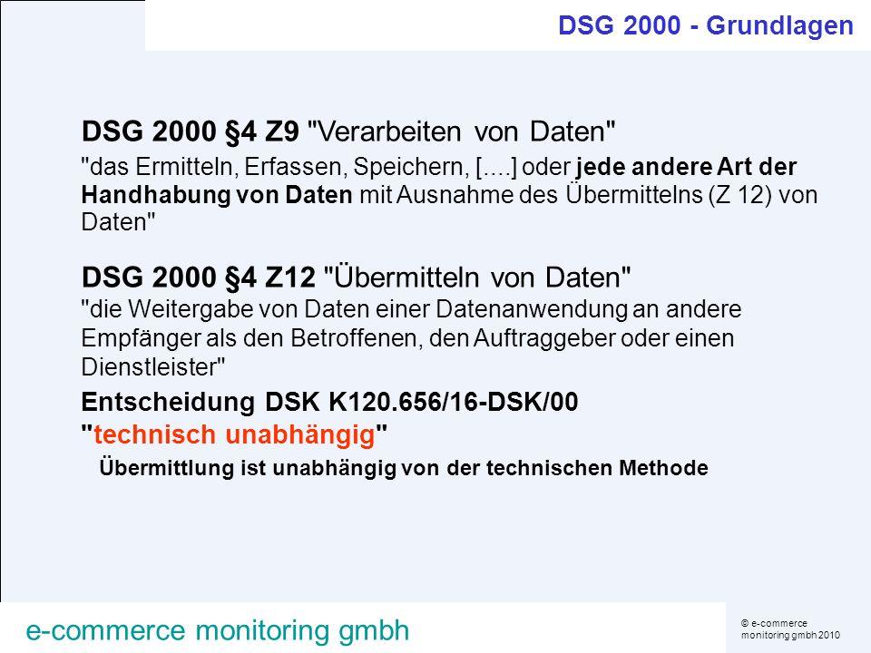 DSG 2000 §4 Z9 Verarbeiten von Daten