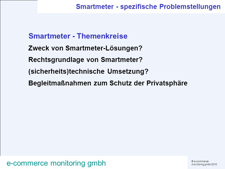 Smartmeter - Themenkreise