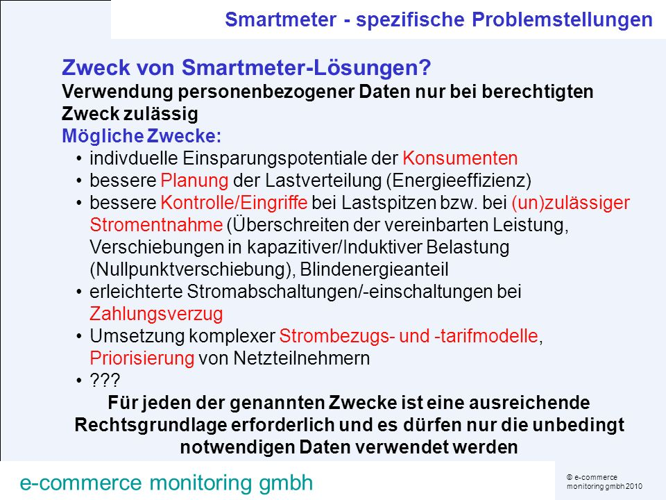 Zweck von Smartmeter-Lösungen