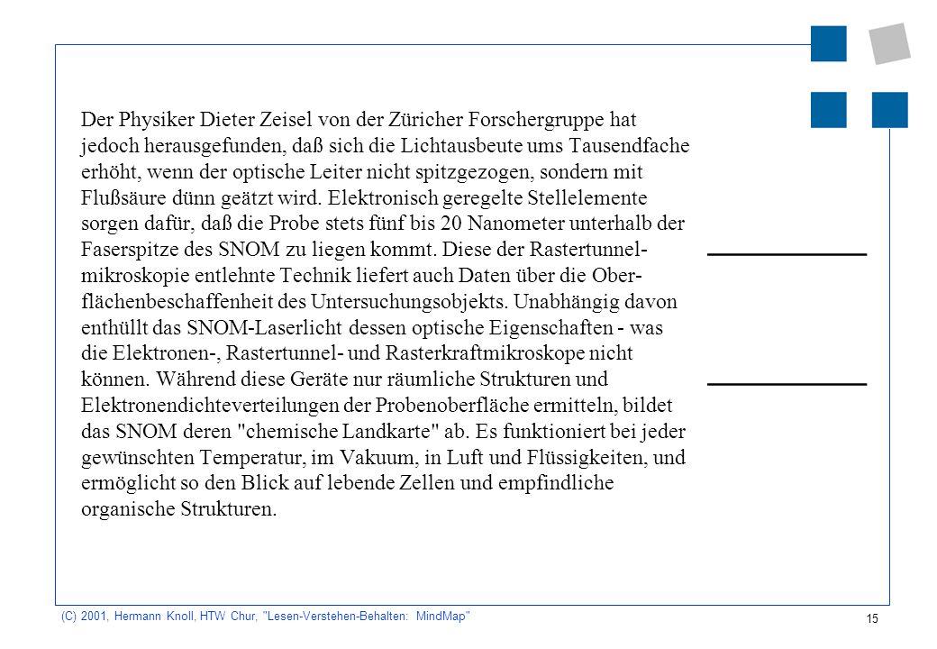 Der Physiker Dieter Zeisel von der Züricher Forschergruppe hat jedoch herausgefunden, daß sich die Lichtausbeute ums Tausendfache erhöht, wenn der optische Leiter nicht spitzgezogen, sondern mit Flußsäure dünn geätzt wird. Elektronisch geregelte Stellelemente sorgen dafür, daß die Probe stets fünf bis 20 Nanometer unterhalb der Faserspitze des SNOM zu liegen kommt. Diese der Rastertunnel-mikroskopie entlehnte Technik liefert auch Daten über die Ober-flächenbeschaffenheit des Untersuchungsobjekts. Unabhängig davon enthüllt das SNOM-Laserlicht dessen optische Eigenschaften - was die Elektronen-, Rastertunnel- und Rasterkraftmikroskope nicht können. Während diese Geräte nur räumliche Strukturen und Elektronendichteverteilungen der Probenoberfläche ermitteln, bildet das SNOM deren chemische Landkarte ab. Es funktioniert bei jeder gewünschten Temperatur, im Vakuum, in Luft und Flüssigkeiten, und ermöglicht so den Blick auf lebende Zellen und empfindliche organische Strukturen.