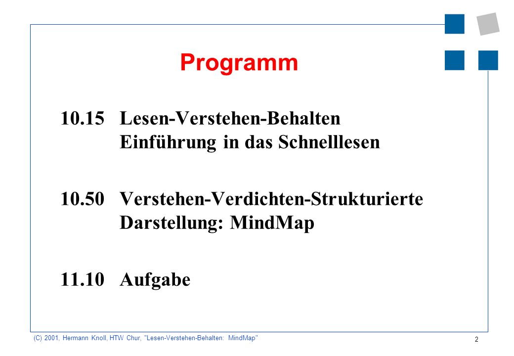 Programm 10.15 Lesen-Verstehen-Behalten Einführung in das Schnelllesen