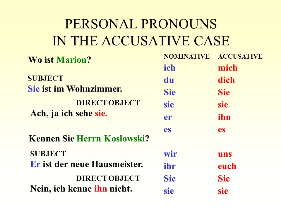 PERSONAL PRONOUNS IN THE ACCUSATIVE CASE