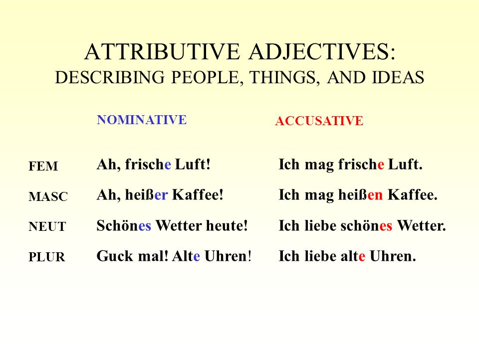 ATTRIBUTIVE ADJECTIVES: DESCRIBING PEOPLE, THINGS, AND IDEAS