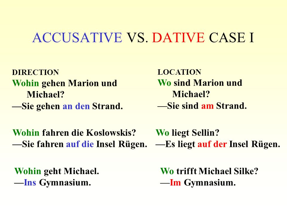 ACCUSATIVE VS. DATIVE CASE I