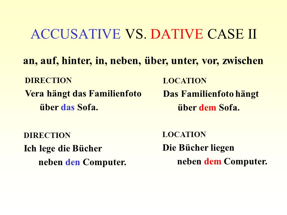 ACCUSATIVE VS. DATIVE CASE II