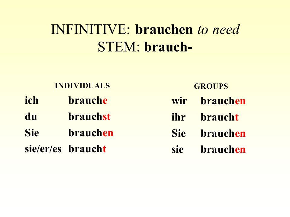 INFINITIVE: brauchen to need STEM: brauch-