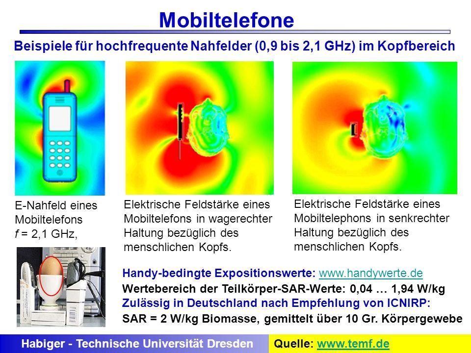 Mobiltelefone Beispiele für hochfrequente Nahfelder (0,9 bis 2,1 GHz) im Kopfbereich. E-Nahfeld eines.