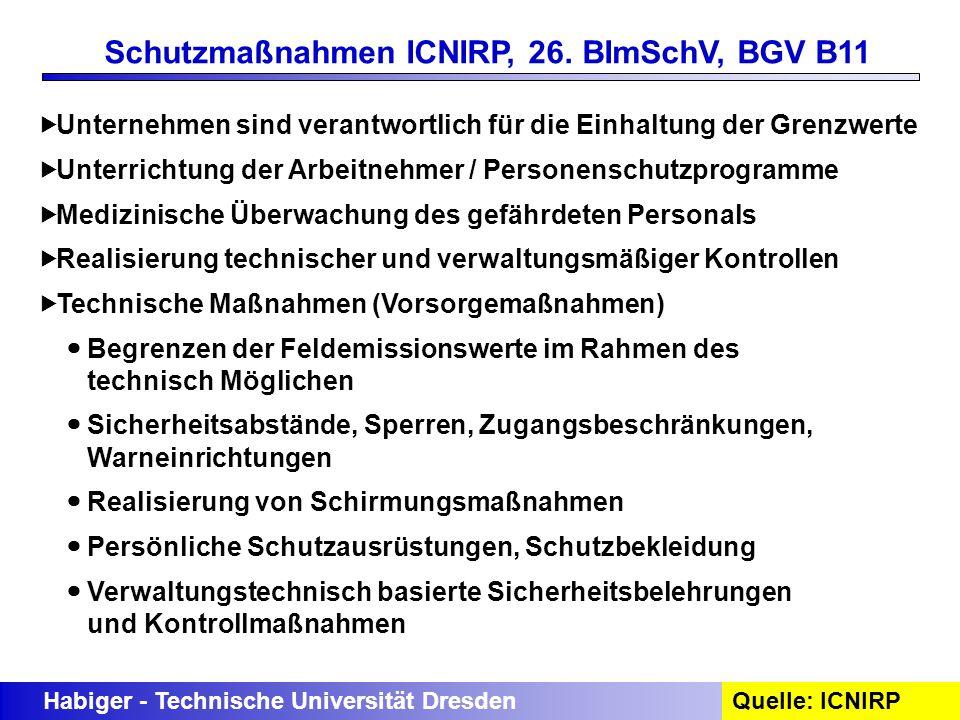 Schutzmaßnahmen ICNIRP, 26. BImSchV, BGV B11